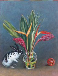 Still life with vase of flowers and rabbit