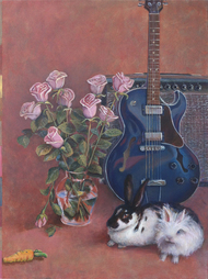 Still life with rabbits and guitar