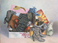 Still life with pile of shoes and rabbit